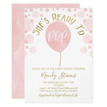 Pink Ballon Ready To Pop Baby Shower Invitation