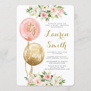 Pink Balloon It's Twins Baby Shower Girls Invitation