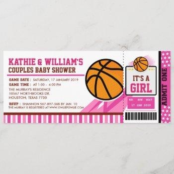 Pink Basketball Couples Baby Shower Invitation