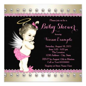 Pink Black And Gold Angel Baby Shower Invitation