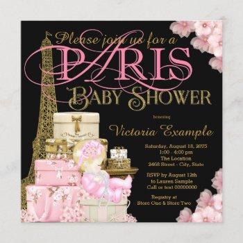 Pink Black And Gold Paris Blonde Girl Baby Shower Invitation