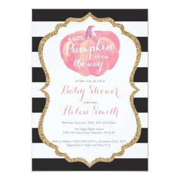 Pink Black And Gold Pumpkin Girl Baby Shower Invitation