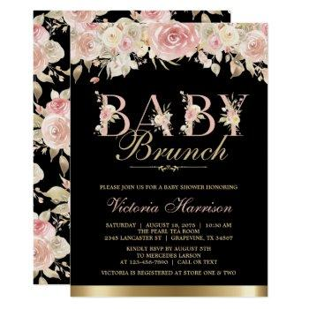 Pink Black Gold Floral Girl Baby Shower Brunch Invitation