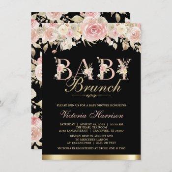 Pink Black Gold Floral Girl Baby Shower Brunch Invitation