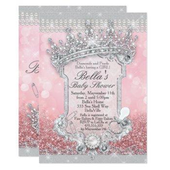 Pink Bling Glitter Baby Shower Invitations