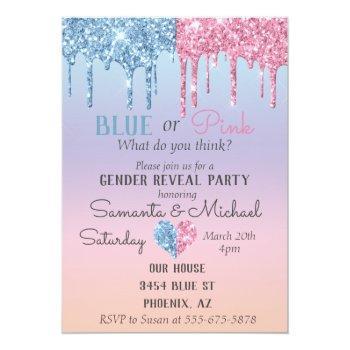 Pink Blue Glitter Drips Sparkle Glam Gender Reveal Invitation