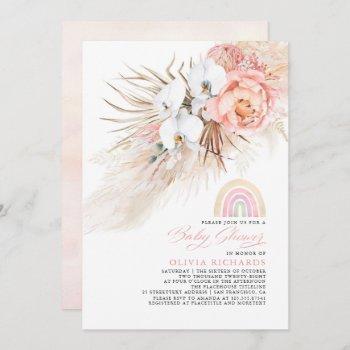 Pink Blush Rainbow Pampas Grass Baby Shower Girl Invitation