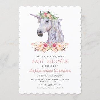 Pink Blush Watercolor Unicorn Girl Baby Shower