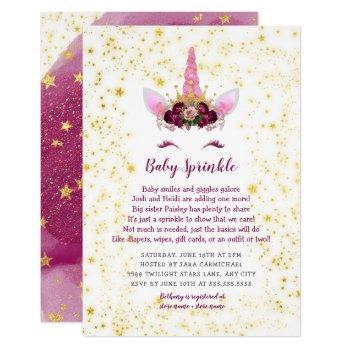 Pink Burgundy Gold Unicorn Baby Sprinkle Invitation