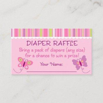 Pink Butterfly Diaper Raffle Tickets Enclosure Card