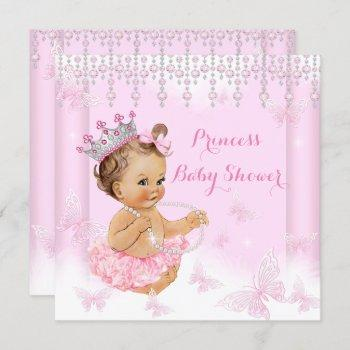 Pink Butterfly Tiara Princess Baby Shower Brunette Invitation