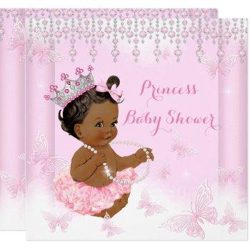 Pink Butterfly Tiara Princess Baby Shower Ethnic Invitation