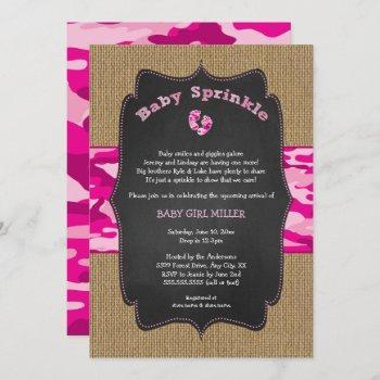 Pink Camo Baby Sprinkle Invite, Camouflage Burlap