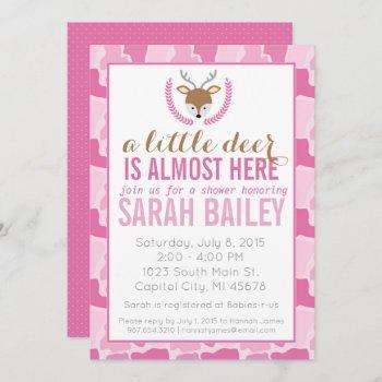 Pink Camo Little Deer Baby Shower Invite
