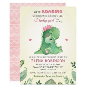 Pink Dinosaur Baby Girl Shower Wild Sweet Sprinkle Invitation