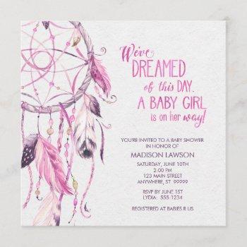 Pink Dreamcatcher Baby Shower Invitation
