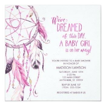 Pink Dreamcatcher Baby Shower Invitation