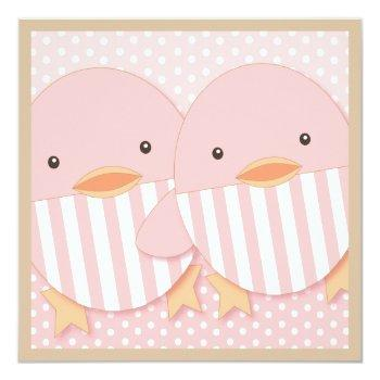 Pink Ducky Twin Girls Baby Shower Invitation