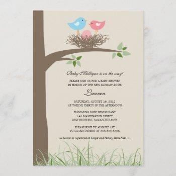 Pink Egg Baby Bird's Nest Baby Shower Invitation