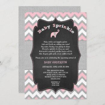 Pink Elephant Baby Sprinkle, Baby Shower Invitation