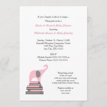 Pink Elephant Book Baby Shower / Books Brunch Girl Invitation