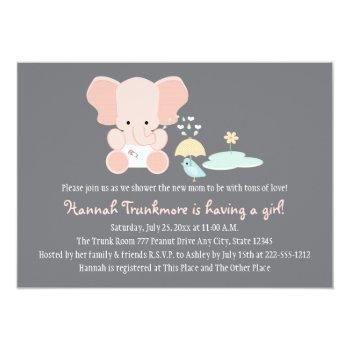 Pink Elephant Little Bird Baby Shower Invitation