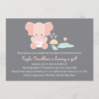 Pink Elephant Little Bird Baby Sprinkle Invitation