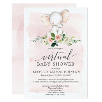 Pink Elephant Virtual Baby Shower Invitation