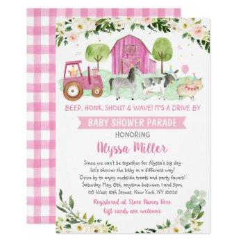 Pink Farm Animal Drive By Baby Shower Parade Invitation