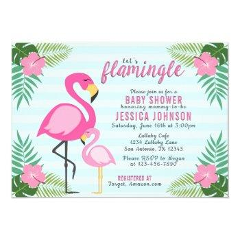 Pink Flamingo Baby Shower Invitation