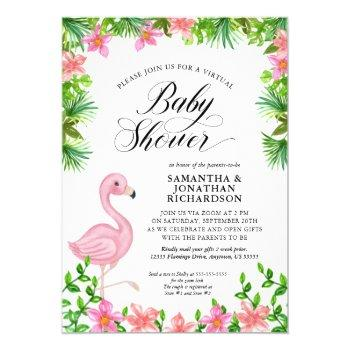 Pink Flamingo Tropical Flowers Virtual Baby Shower Invitation