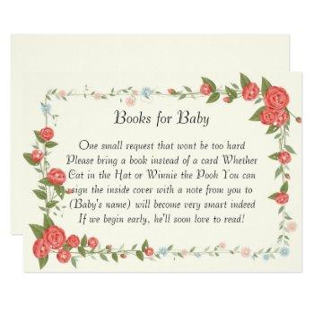 Pink Floral Baby Shower Books For Baby Card