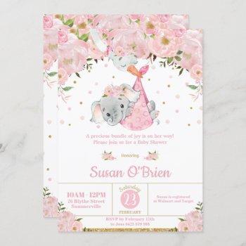 Pink Floral Elephant Stork Bundle Girl Baby Shower