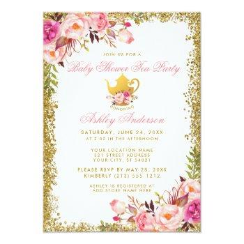Pink Floral Gold Baby Shower Tea Party Invite Gp