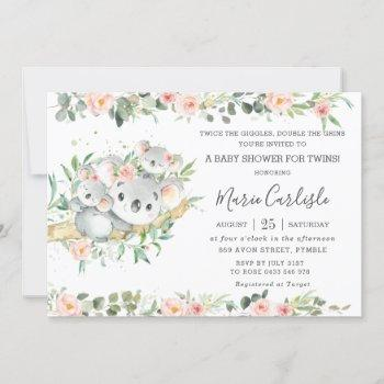 Pink Floral Greenery Koala Twin Girls Baby Shower  Invitation