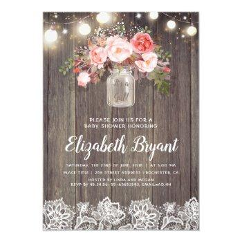 Pink Floral Mason Jar Rustic Lace Baby Shower Invitation