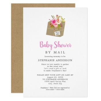 Pink Floral Shipping Box Girl Baby Shower By Mail Invitation