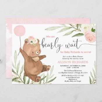Pink Floral Teddy Bear Balloon Girl Baby Shower