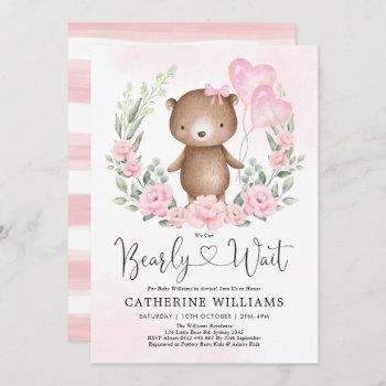 Pink Floral Teddy Bear Balloons Girl Baby Shower