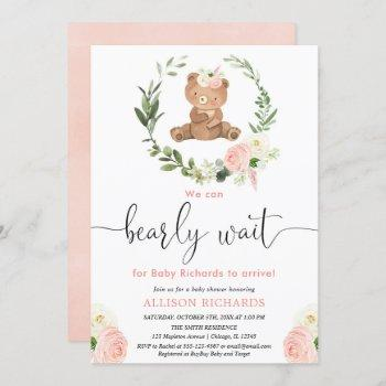 Pink Floral Teddy Bear Greenery Girl Baby Shower Invitation