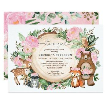 Pink Floral Woodland Forest Animals Baby Girl Invitation