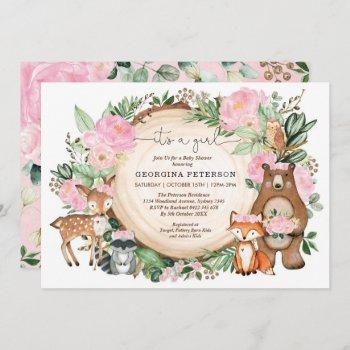 Pink Floral Woodland Forest Animals Baby Girl