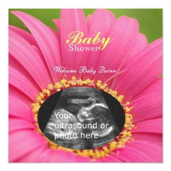 "Pink ""flower Child"" Sonogram Shower Invite-square Invitation"