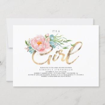 Pink Flowers And Gold Glitter Modern Baby Shower Invitation