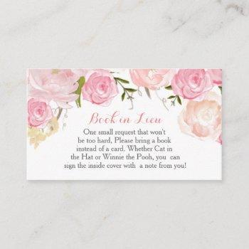 Pink Flowers Book In Lieu, Bring A Book Enclosure Card