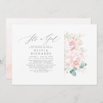 Pink Flowers Gold Leaves Elegant Baby Shower