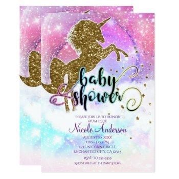 Pink Galaxy Magical Unicorn Sparkle Baby Shower Invitation