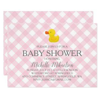 Pink Gingham Rubber Duckie Baby Shower Invitation
