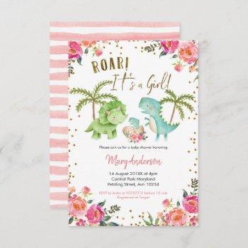 Pink Girl Tropical Dinosaur Baby Shower Floral Invitation