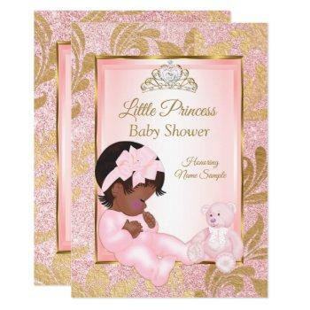 Pink Glitter Gold Baby Shower Bear Ethnic Invitation